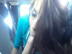 Brunette girl gives car blowjob and swallows cum