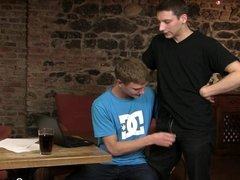 Unexpectant gay blowjob and sex on the table