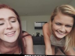 Teen Sister and her BFF Cum Swap and Swallow Brothers Cum for a Ride