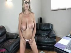 Blonde MILF with hige tits dildo ride