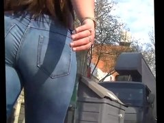 Big ASS Brunette in tight jeans (includes face shots)
