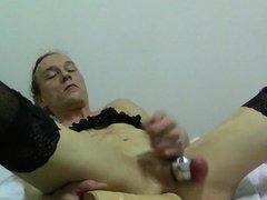 Sissy-Slave-Slut, Opens Chastity To Eat Cum