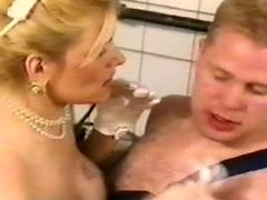 Busty housewife seducing a plumber
