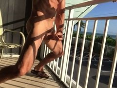 Risky balcony jerk