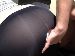 Fuck my ripped leggings then cum on them