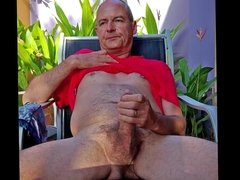 German daddy wanking at yard