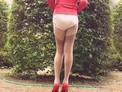 Red Suit Tan Nylons