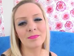 Busty blonde Sinful Samia uses pink vibrator and magic wand