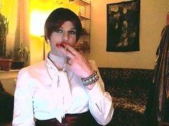 White Satin Lady Smoking and Playing