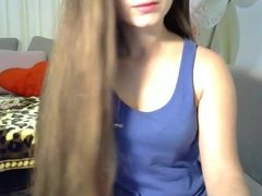 Fantastic Long Haired Hairplay, Striptease and Brushing