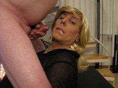 Sexy crossdresser fucks and gets cum in mouth