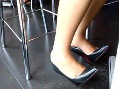 candid feet in her new louboutins under table candid gf