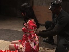 Asian bdsm sub tied up and toyed by maledom