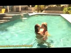 hot lesbian kisses at the pool