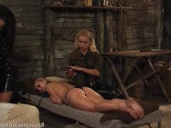 Slaves Homecoming: Slave Moans Under Busty Blonde's Strap-on