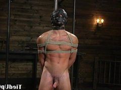 BDSM dom masks his sex slave for cocksucking