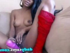 Ebony Teen In Red Stockings Dildoing Pussy