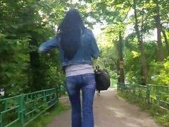 russian brunette walk in the park
