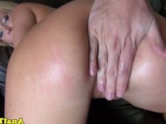 Tattooed girlfriend assfucked doggystyle by bf