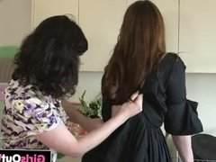 Hairy brunettes lick and finger each other