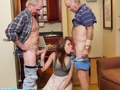 Teen cocksucks old men in cocksucking trio