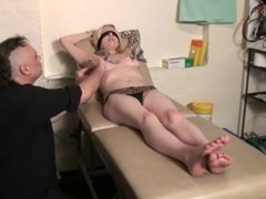 Blindfolded blonde Weekays amateur bdsm and tit torture of clinic patient