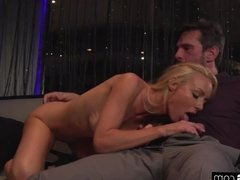 Kayden Kross sucks a clients cock