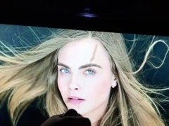 Cumming on Cara Delevingne part 2 (big screen)