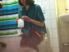 Skinny Girl on Toilet at Party with Flat Ass Blue Thong