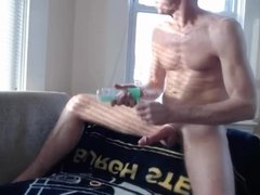 exhibitionist dad strokes by the window 2