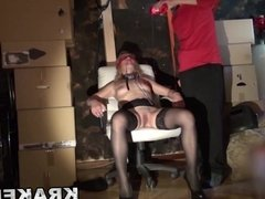 Woman waiting on the street in a BDSM scene