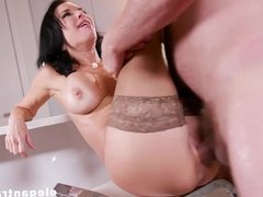 Busty squirting MILF fucks both holes like a champion