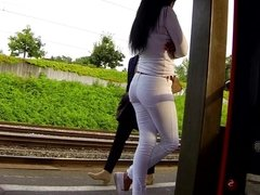sexy babe in white jeans