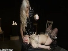 Sizzling Intense Wax and Toy BDSM With Bound Brunette and Goddess Starla