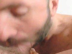 Blowing cock with nice cum facial