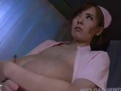 Asian nurse with giant tits taking care of her patient