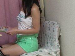 Japanese Teen Ai Hoshina Telephone Call Masturbation