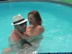 a blonde with big tits fucked by the pool