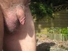 Me peeing in the garden with precum afterwards
