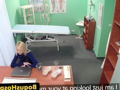Doctor fingers euro amateur blonde patient