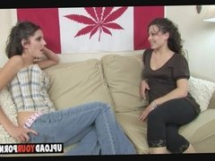 Lesbian chicks in action on the couch