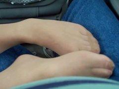TAN PANTYHOSE FOOTJOB HANDJOB IN CAR