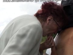 80 years old German granny sucking cock