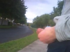 Flasher cums in busy road