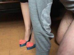 Big Cumshot on blue and pink Slingback Heels