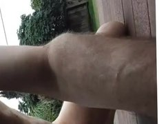 Jerking outside on the deck, and cumming