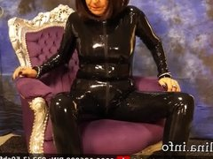 Mature Herrin Carmen Latex Catsuit Shiny Rubber Mistress
