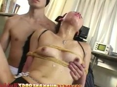 Japanese Teen tied and used as Cum Bucket - Japanese Bukkake Orgy