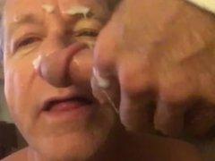 Faggot Cocksucker Not Happy to Get Cum Facial
