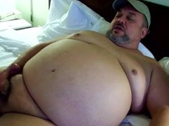 Fat daddy jerks off